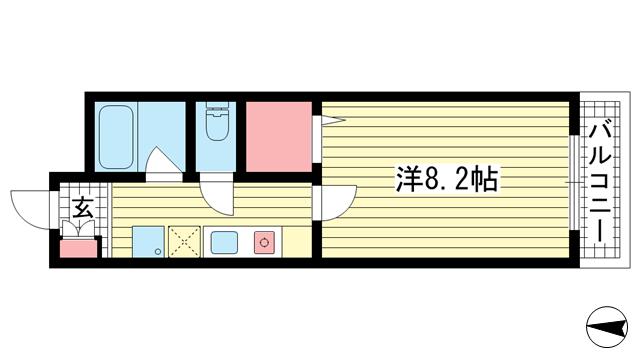 物件番号: 1025855498 ヴィラ神戸Ⅲ  神戸市中央区国香通5丁目 1K マンション 間取り図