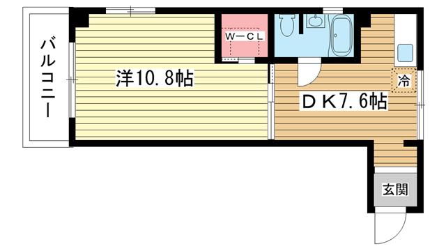 物件番号: 1025855519 セルフィーユ諏訪山  神戸市中央区中山手通4丁目 1DK マンション 間取り図