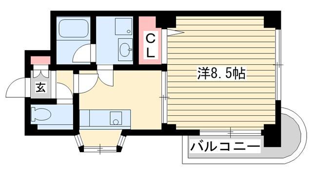 物件番号: 1025855528 ダイコーパレス  神戸市中央区脇浜町2丁目 1DK マンション 間取り図