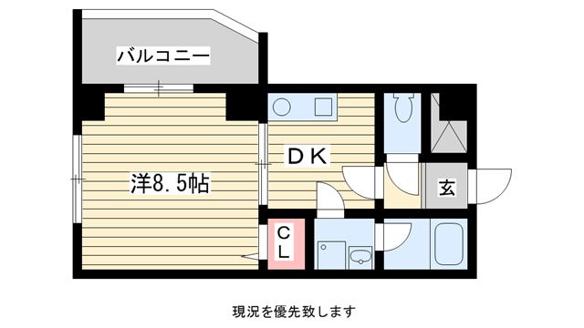 物件番号: 1025855530 ダイコーパレス  神戸市中央区脇浜町2丁目 1DK マンション 間取り図