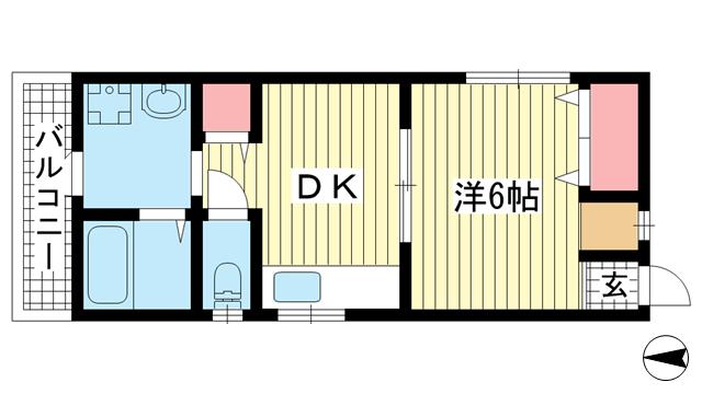 物件番号: 1025855557 リバーライスⅠ  神戸市中央区旗塚通2丁目 1DK ハイツ 間取り図