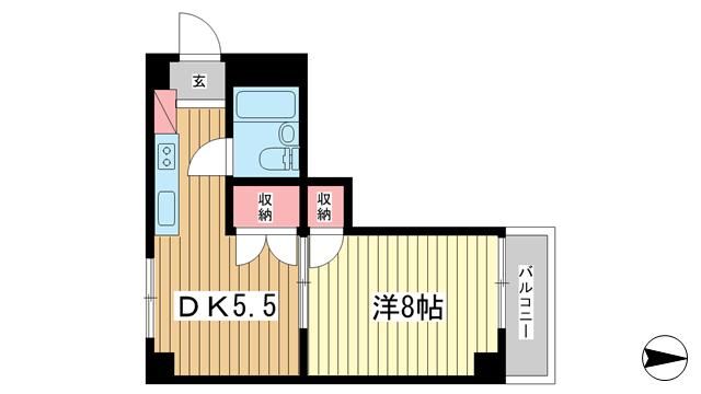 物件番号: 1025855621 ウィル・トアロード  神戸市中央区下山手通3丁目 1DK マンション 間取り図