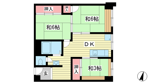 物件番号: 1025855639 中一東ビル  神戸市中央区中山手通1丁目 3DK マンション 間取り図