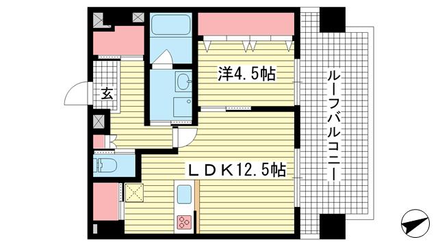 物件番号: 1025855642 STELLA LUCE 北野坂  神戸市中央区中山手通1丁目 1LDK マンション 間取り図