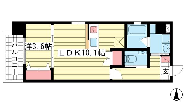 物件番号: 1025855647 STELLA LUCE 北野坂  神戸市中央区中山手通1丁目 1LDK マンション 間取り図