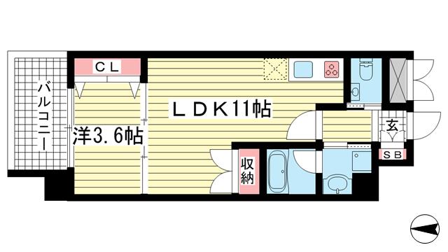 物件番号: 1025855652 STELLA LUCE 北野坂  神戸市中央区中山手通1丁目 1LDK マンション 間取り図