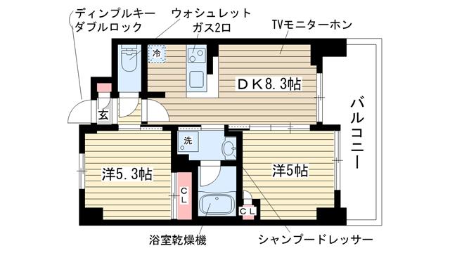 物件番号: 1025855726 エステムプラザ神戸西Ⅳインフィニティ  神戸市兵庫区西柳原町 2DK マンション 間取り図