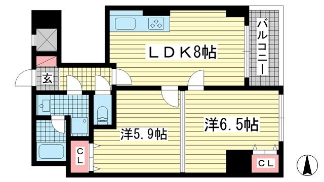 物件番号: 1025855751 ロイヤルヒル神戸三ノ宮Ⅱ  神戸市中央区加納町3丁目 2LDK マンション 間取り図