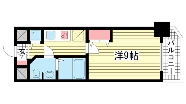 物件番号: 1025855896 S-RESIDENCE神戸磯上通  神戸市中央区磯上通4丁目 1K マンション 間取り図