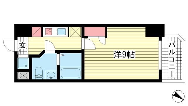 物件番号: 1025855900 S-RESIDENCE神戸磯上通  神戸市中央区磯上通4丁目 1K マンション 間取り図
