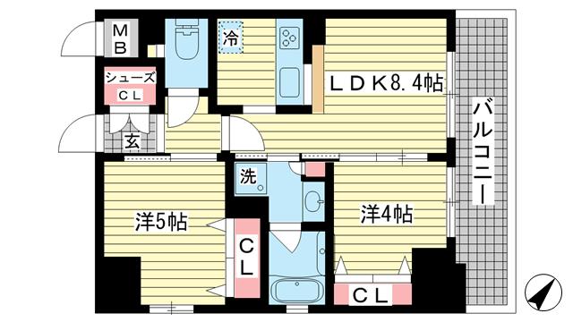 物件番号: 1025856077 エステムプラザ神戸・大開通ルミナス  神戸市兵庫区大開通3丁目 2LDK マンション 間取り図