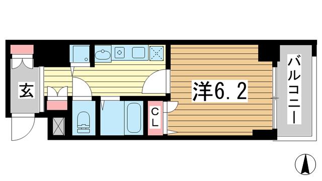 物件番号: 1025856299 スワンズ神戸三宮イースト  神戸市中央区筒井町3丁目 1K マンション 間取り図