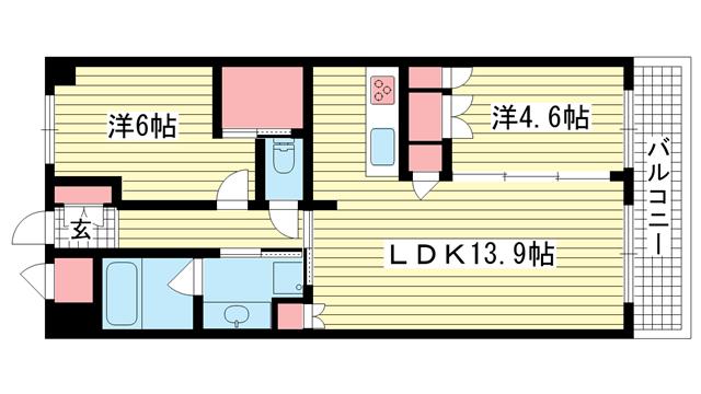 物件番号: 1025856334 神戸三宮ブリーズレジデンス  神戸市中央区磯上通3丁目 2LDK マンション 間取り図