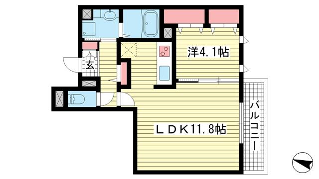 物件番号: 1025856365 ローズクレール王子公園  神戸市灘区畑原通5丁目 1LDK マンション 間取り図