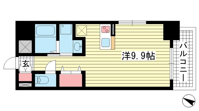 物件番号: 1025856463 ジアコスモ神戸三宮  神戸市中央区琴ノ緒町2丁目 1K マンション 間取り図
