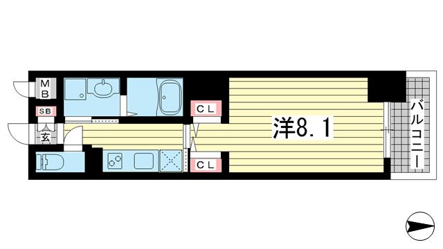 物件番号: 1025856470 ジアコスモ神戸三宮  神戸市中央区琴ノ緒町2丁目 1K マンション 間取り図