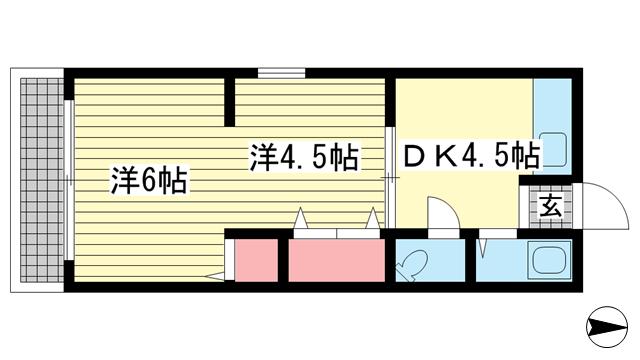 物件番号: 1025856518 サンシャイン山ノ手  神戸市中央区山本通4丁目 2DK アパート 間取り図