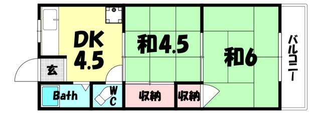 物件番号: 1025856519 サンシャイン山ノ手  神戸市中央区山本通4丁目 2DK アパート 間取り図