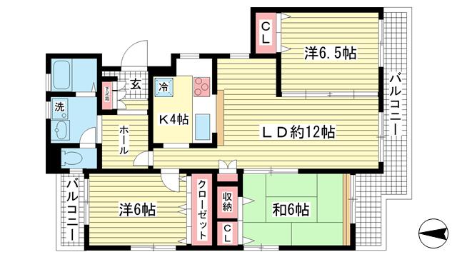 物件番号: 1025856585 ワコーレ赤坂山手  神戸市灘区赤坂通8丁目 3LDK マンション 間取り図