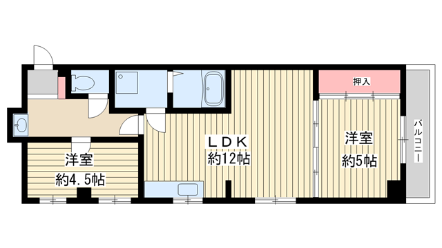 物件番号: 1025856627 ヴィラコート三宮  神戸市中央区東雲通3丁目 2LDK マンション 間取り図