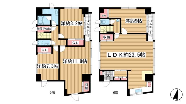 物件番号: 1025856651 J・K CROSS  神戸市中央区北長狭通3丁目 4LDK マンション 間取り図