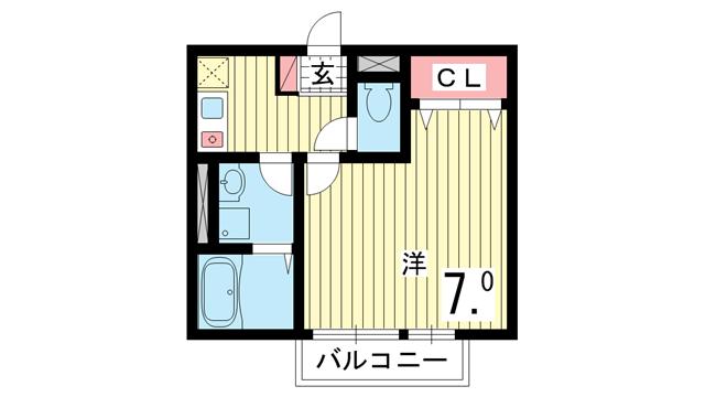物件番号: 1025856672 シャルマンコート北野  神戸市中央区北野町2丁目 1K マンション 間取り図