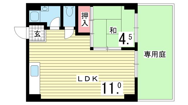 物件番号: 1025856675 楠六住宅ビル  神戸市中央区楠町6丁目 1LDK マンション 間取り図