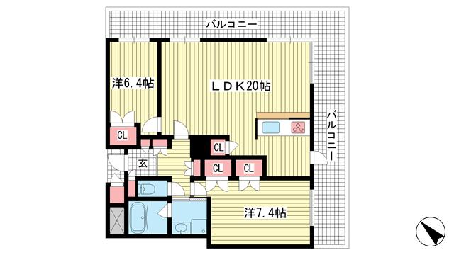 物件番号: 1025856677 D'グラフォート神戸三宮タワー  神戸市中央区八幡通4丁目 2LDK マンション 間取り図