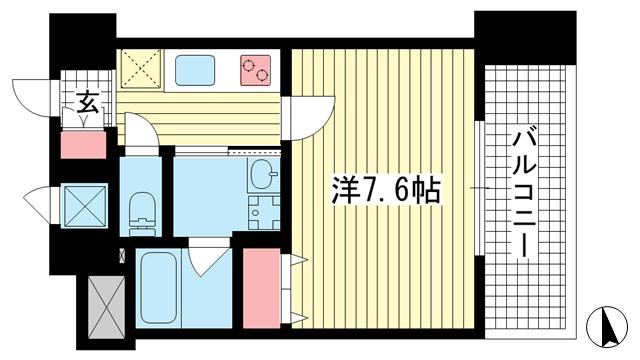 物件番号: 1025856729 アドバンス神戸アルティス  神戸市中央区北長狭通8丁目 1K マンション 間取り図