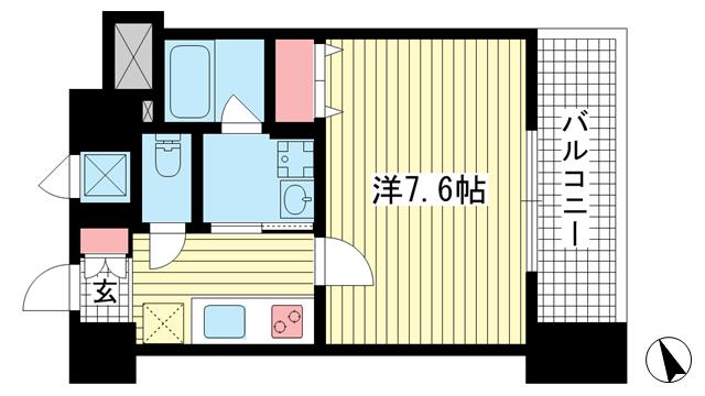 物件番号: 1025856732 アドバンス神戸アルティス  神戸市中央区北長狭通8丁目 1K マンション 間取り図