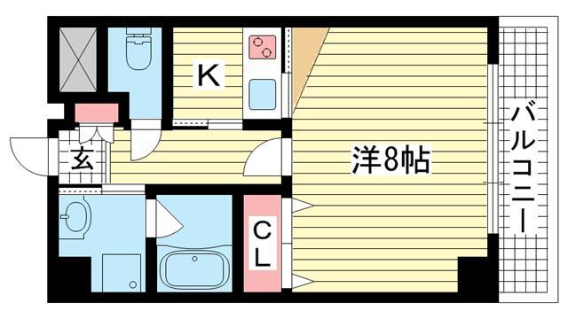 物件番号: 1025856867 コンフォート・トーユー  神戸市中央区海岸通4丁目 1K マンション 間取り図