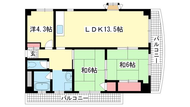 物件番号: 1025856901 グランドメゾン中山手  神戸市中央区中山手通4丁目 3LDK マンション 間取り図