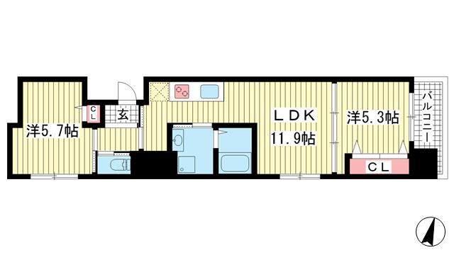 物件番号: 1025856913 プリオーレ三宮  神戸市中央区磯辺通2丁目 2LDK マンション 間取り図