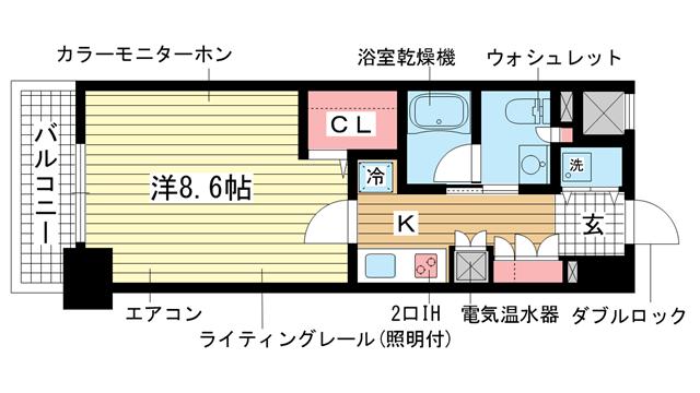 物件番号: 1025857026 レジディア神戸磯上  神戸市中央区磯上通3丁目 1K マンション 間取り図
