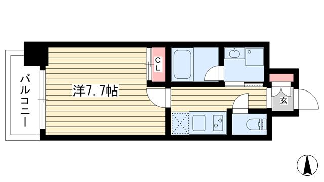 物件番号: 1025857113 ピアグレース神戸  神戸市兵庫区門口町 1K マンション 間取り図