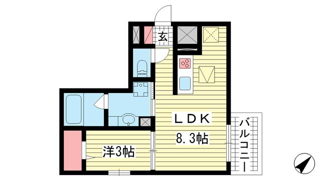物件番号: 1025857187 AQUILA上筒井通  神戸市中央区上筒井通6丁目 1LDK マンション 間取り図