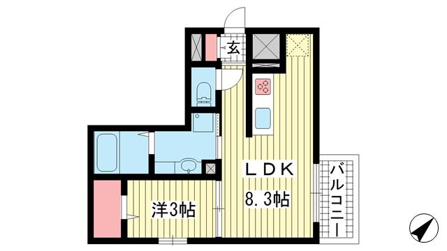 物件番号: 1025857198 AQUILA上筒井通  神戸市中央区上筒井通6丁目 1LDK マンション 間取り図