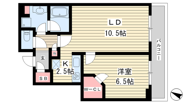 物件番号: 1025857479 シティタワー神戸三宮  神戸市中央区旭通4丁目 1LDK マンション 間取り図