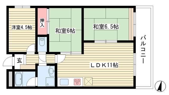 物件番号: 1025857535 パレルミエール岡本  神戸市東灘区田中町3丁目 3LDK マンション 間取り図