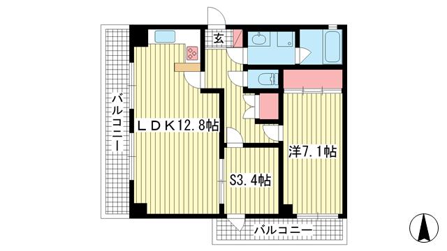 物件番号: 1025857542 メゾン・アーサ熊内橋  神戸市中央区熊内橋通6丁目 1SLDK マンション 間取り図