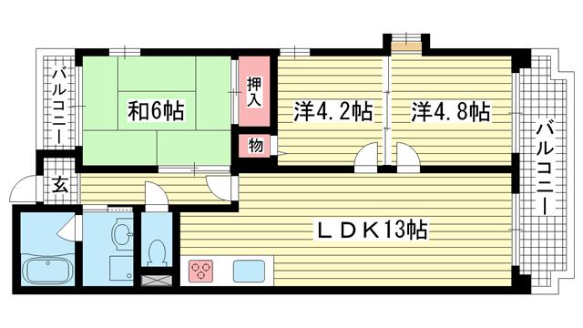 物件番号: 1025857572 メロディ三宮東  神戸市中央区神若通3丁目 3LDK マンション 間取り図