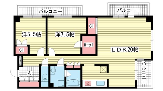 物件番号: 1025857575 ディアエスタ・ミオ中山手  神戸市中央区中山手通7丁目 2LDK マンション 間取り図