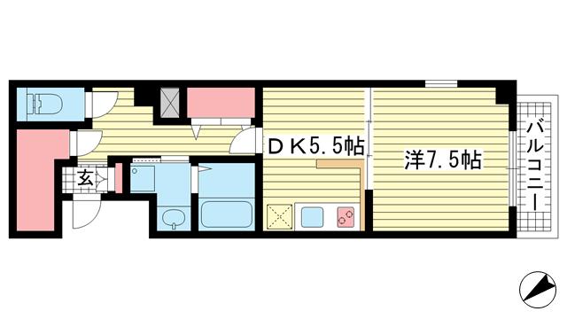 物件番号: 1025857605 マリス神戸WING  神戸市兵庫区兵庫町1丁目 1SDK マンション 間取り図