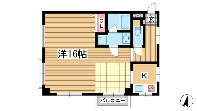 物件番号: 1025857661 神戸マンション  神戸市中央区山本通2丁目 1K マンション 間取り図