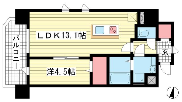 物件番号: 1025857770 新神戸Vita  神戸市中央区熊内町7丁目 1LDK マンション 間取り図