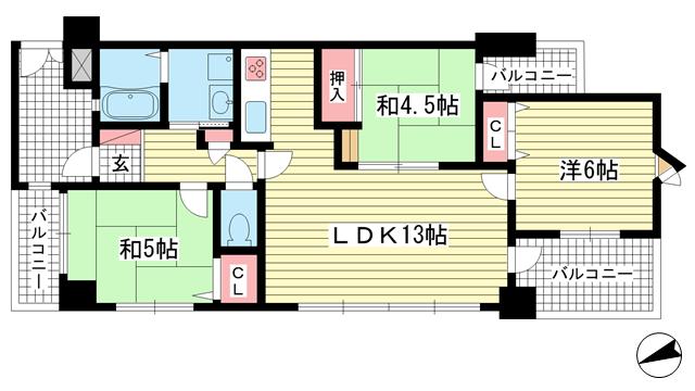 物件番号: 1025857786 ワコーレプラザ兵庫  神戸市兵庫区駅南通3丁目 3LDK マンション 間取り図