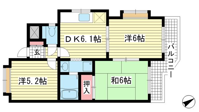 物件番号: 1025857788 エスポワール六甲道  神戸市灘区稗原町4丁目 3DK マンション 間取り図