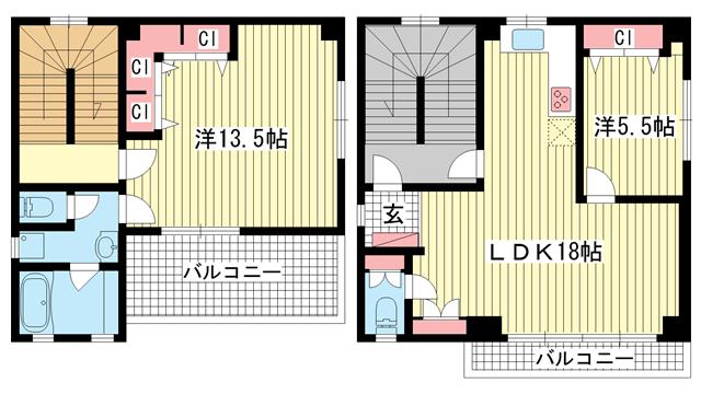 物件番号: 1025857805 佳山ビル  神戸市中央区栄町通5丁目 2LDK マンション 間取り図