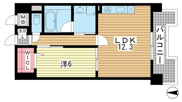 物件番号: 1025857939 L・Isobe三宮  神戸市中央区磯辺通1丁目 1LDK マンション 間取り図