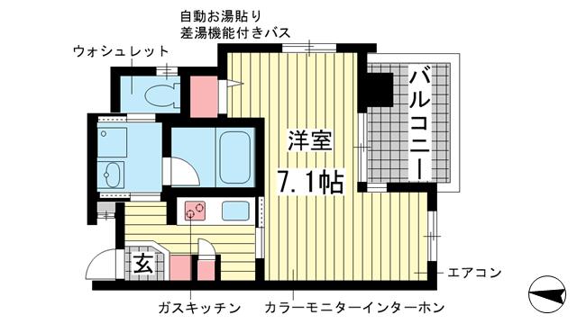 物件番号: 1025857965 WOB SHINKOBE  神戸市中央区熊内町4丁目 1K マンション 間取り図